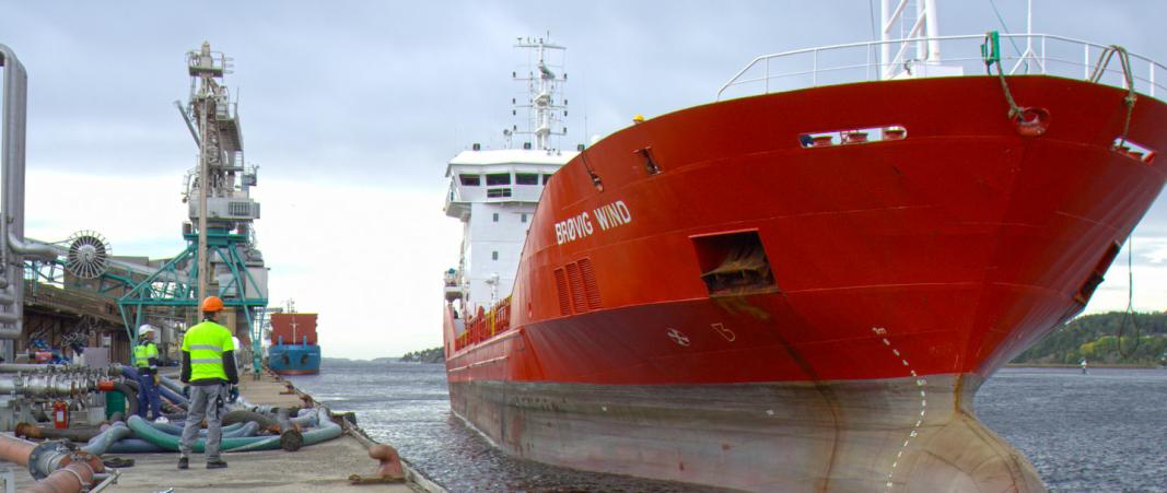 FÅR PROBLEMER: Store skip har problemer med å legge til ved Denofas kai i Borg Havn, der selskapet mottar tusenvis av tonn soyabønner årlig. Foto: Denofa