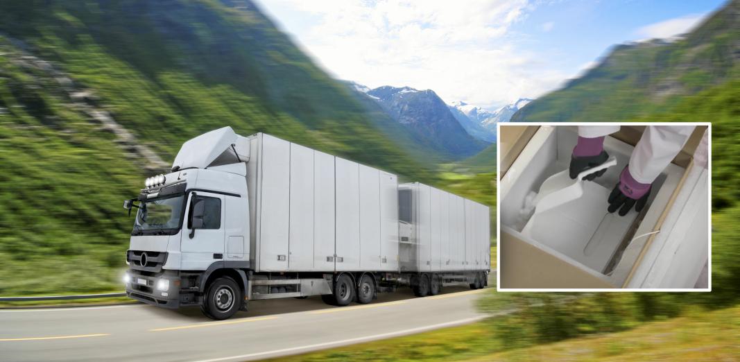 Lastebilene som skal distribuere korona-vaksinene i Norge, vil ikke skille seg ut fra andre transporter langs veien.