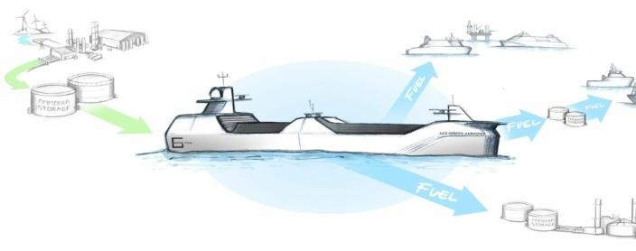 Skissen viser MS Green Ammonia, det utslippsfrie skipet som Grieg Star sammen med Wärtsilä får støtte fra Pilot-E til å realisere. (lllustrasjon: Miika Heikkinen for Wärtsilä-Grieg Star)
