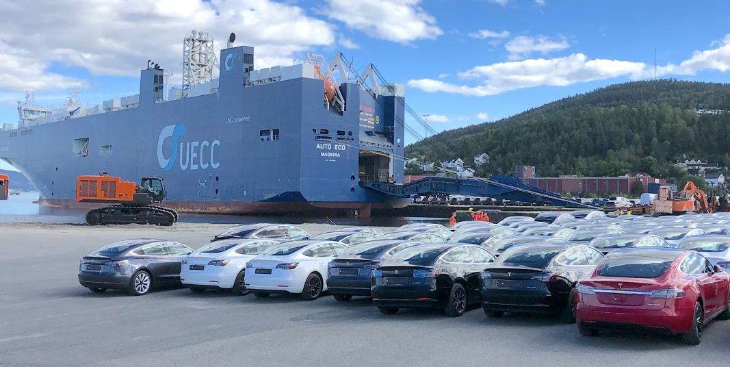 De aller fleste elbiler, som kommer til Norge, er innom Drammen havn.