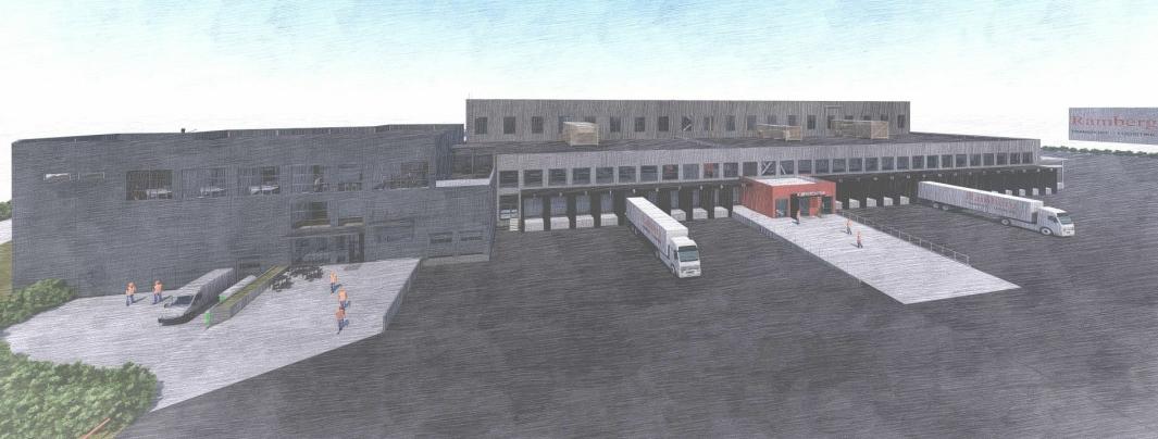 Slik skal det nye bygget til Ramberg i Hanekleiva se ut når det står ferdig til sommeren.