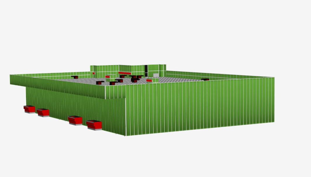 De foreløpige skissene til prosjektet viser ikke så mye annet enn at AutoStoren ser ut til å bli Bring-grønn.