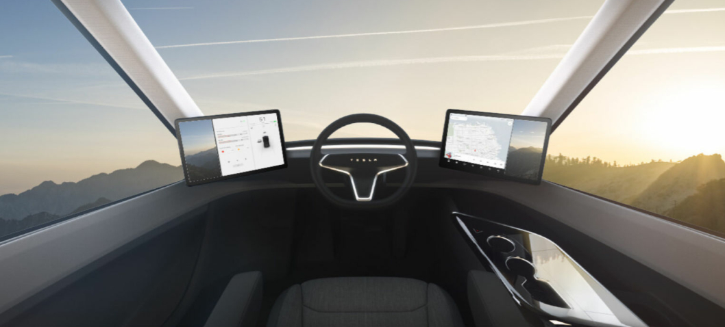 Slik skal cockpiten i Tesla Semi se ut.