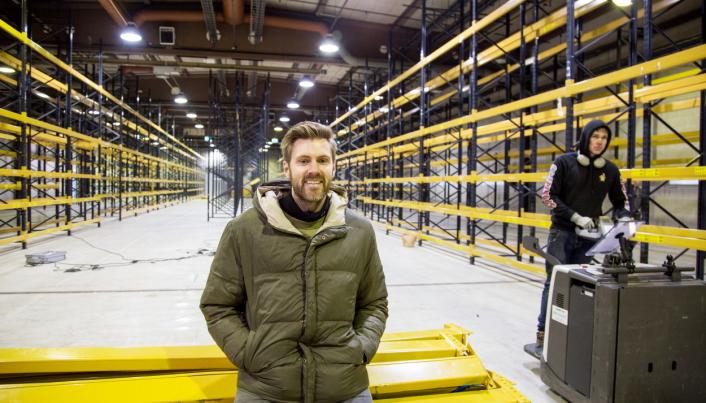 Da Kim Kåsene viste oss rundt før jul, var den nye lagerdelen i ferd med å ferdigstilles.