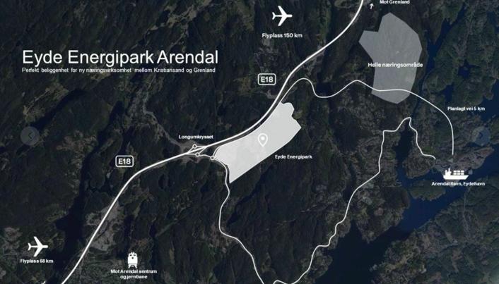 Eyde Energipark Arendal skal ligge kloss inntil E18, og det er planlagt en ny vei ned til havna.