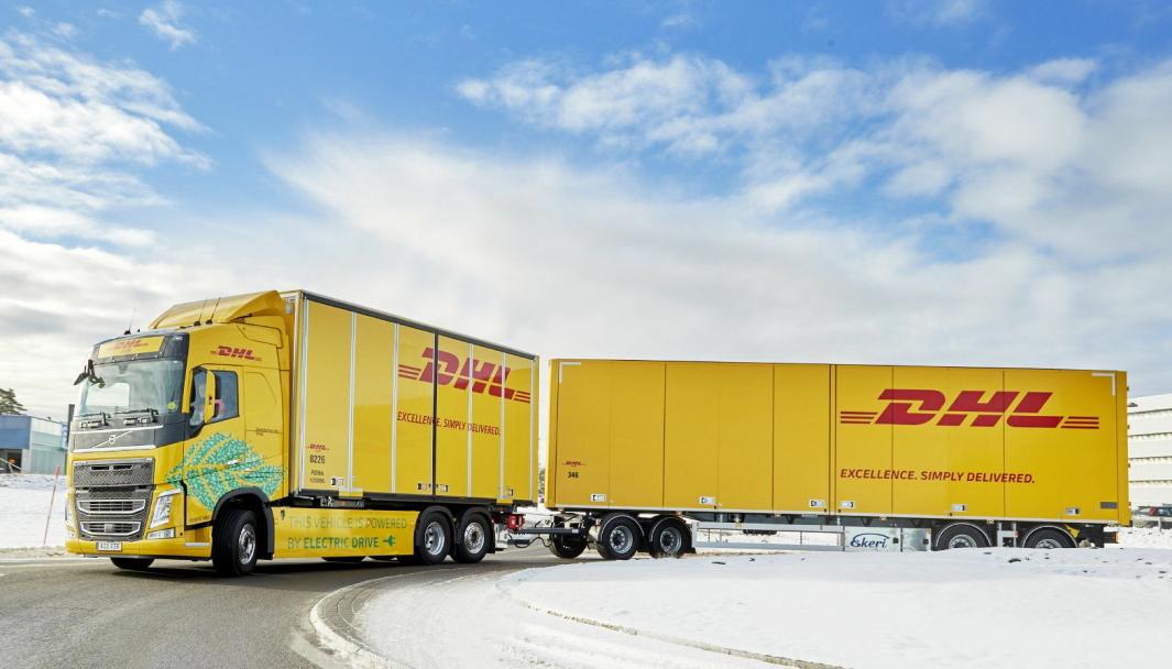 DHL Freight og Volvo Trucks prøver elektrisk 60 tonns lastebil i drift mellom Göteborg og Jönköping.