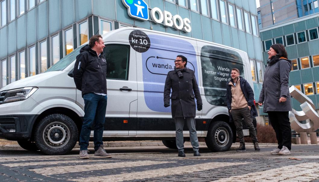 Klare for samarbeid: Fra venstre Lars Syse Christiansen (CEO, Wanda), Daniel Kjørberg Siraj (Konsernsjef, OBOS), Mathias Haddal Hovet (CPO, Wanda), Ingunn Andersen Randa (konserndirektør for aksjeinvesteringer og forretningsutvikling, OBOS).