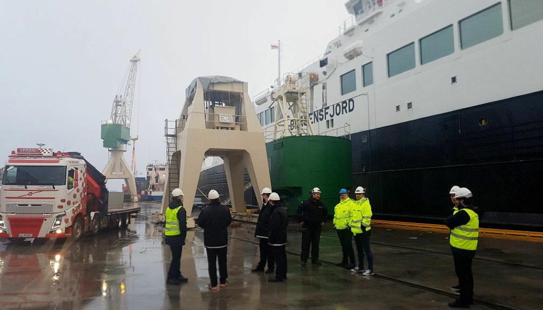 MS Bergensfjord var det første skipet som fikk landstrøm i Sandnes Havn.