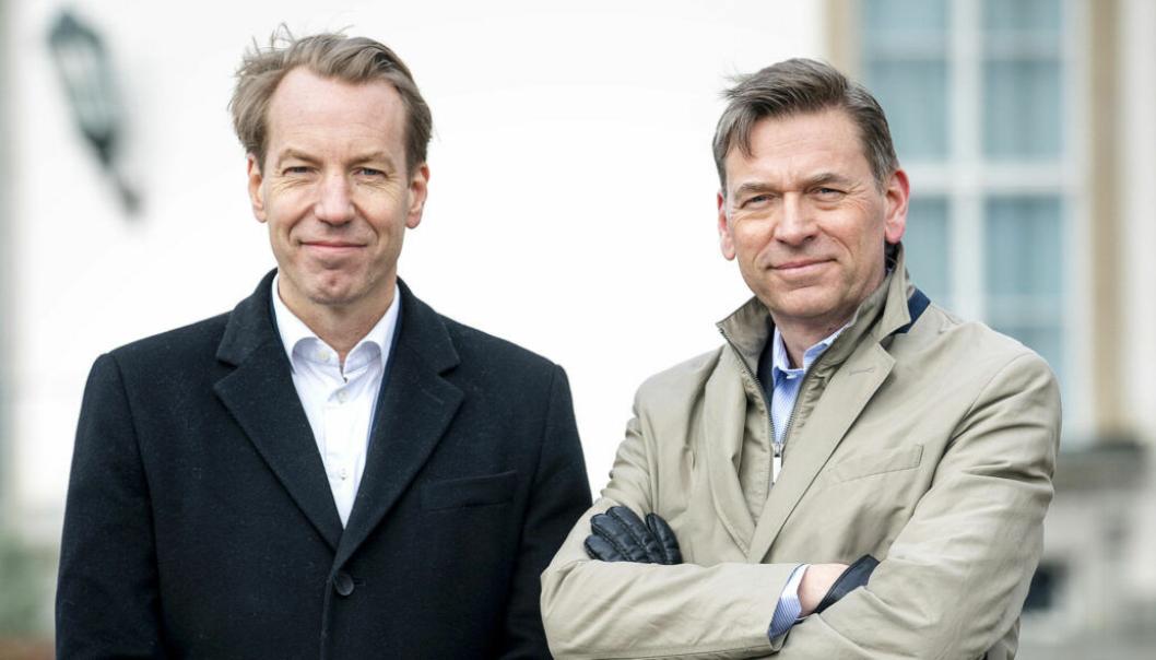 Raoul Grünthal, vd Schibsted Sverige og Bonnier News-vd Anders Eriksson. Foto: Stefan Jerrevång / AFTONBLADET/2800