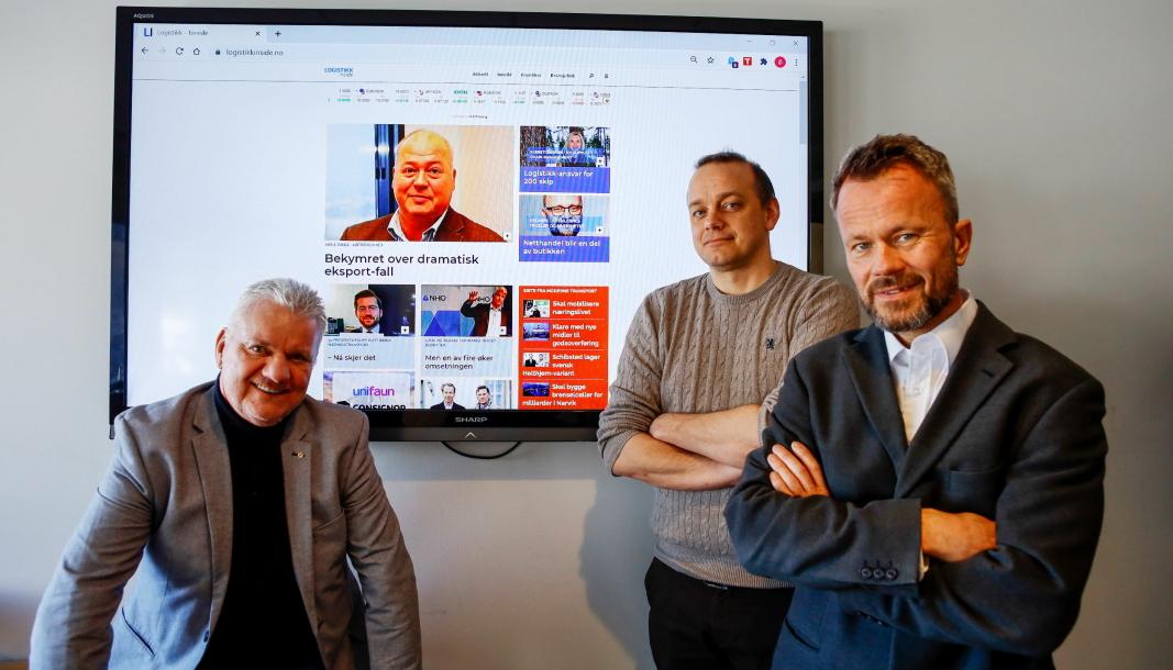 Logistikk Inside er en del av forlagshuset Bjørgu der også titlene Moderne Transport og Anlegg&Transport inngår. Her Logistikk Inside-redaktør Per Dagfinn Wolden (fra venstre), redaktør i Moderne Transport Øyvind Ludt og forlagsredaktør Thomas Witsø-Bjølmer.