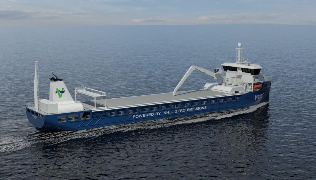 PLANEN: Skisse av hvordan Viridis Bulk Carriers ser for seg et ammoniakkdrevet godsskip.