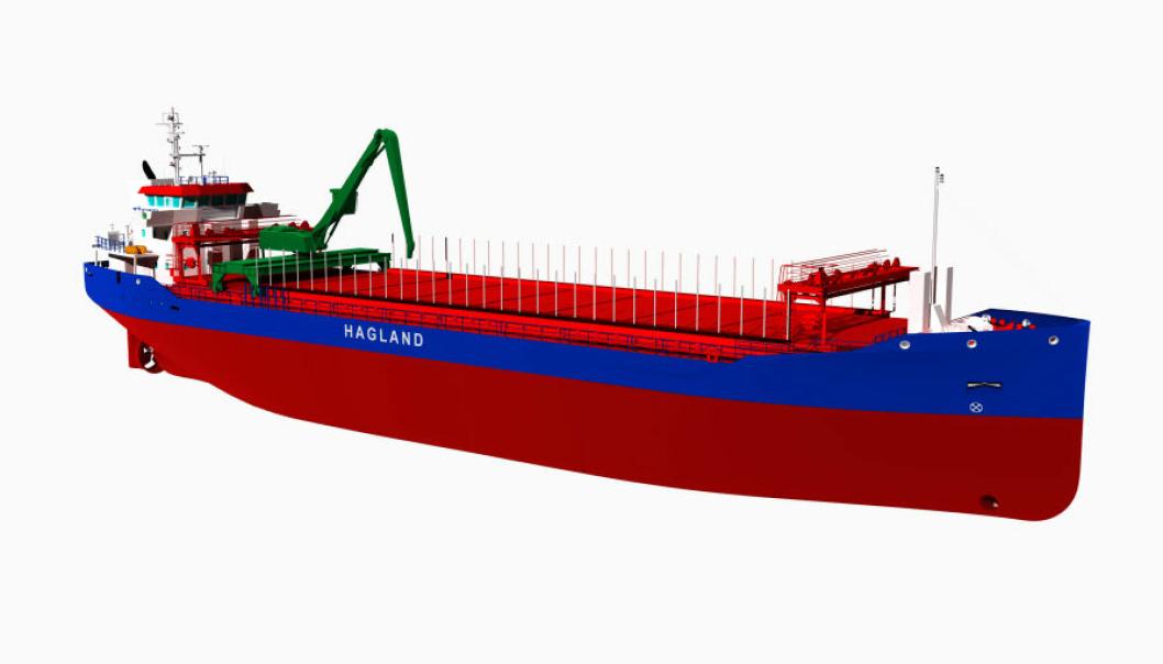 Bulkfartøyet blir selvlossende og bygges med mulighet for framtidig nullutslippsfri drift. Ill: Hagland/Royal Bodewes