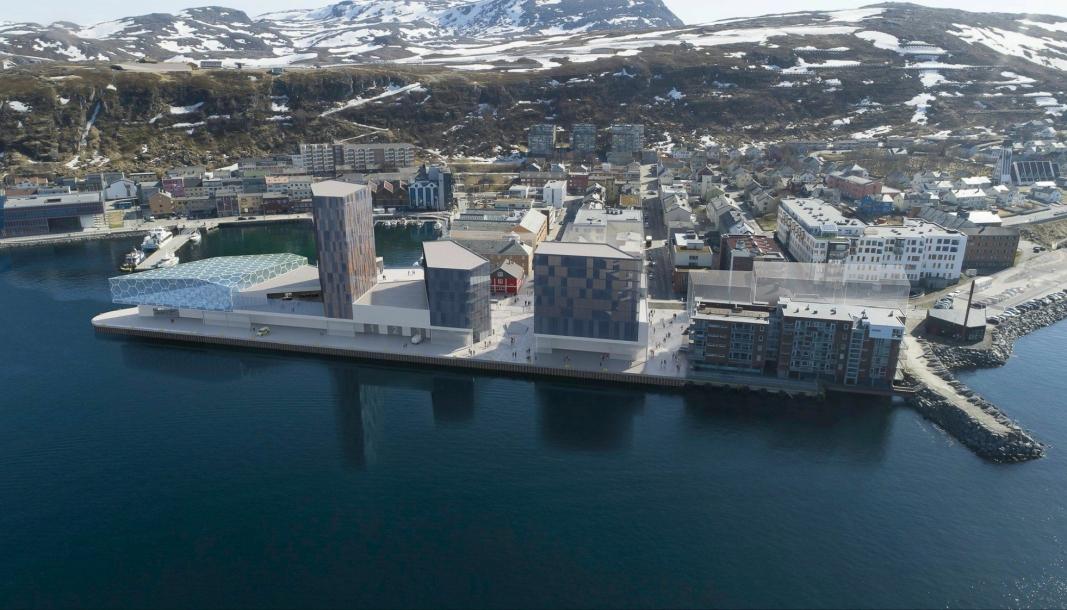 Slik kan det bli seende ut på kaia i Hammerfest, med blant annet folkebad, hotell og bibliotek.