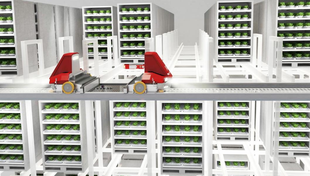 NY BRUK AV TEKNOLOGI: Swisslogs ulike skyttelløsninger kan passe perfekt til effektivt og automatisert vertikalt landbruk