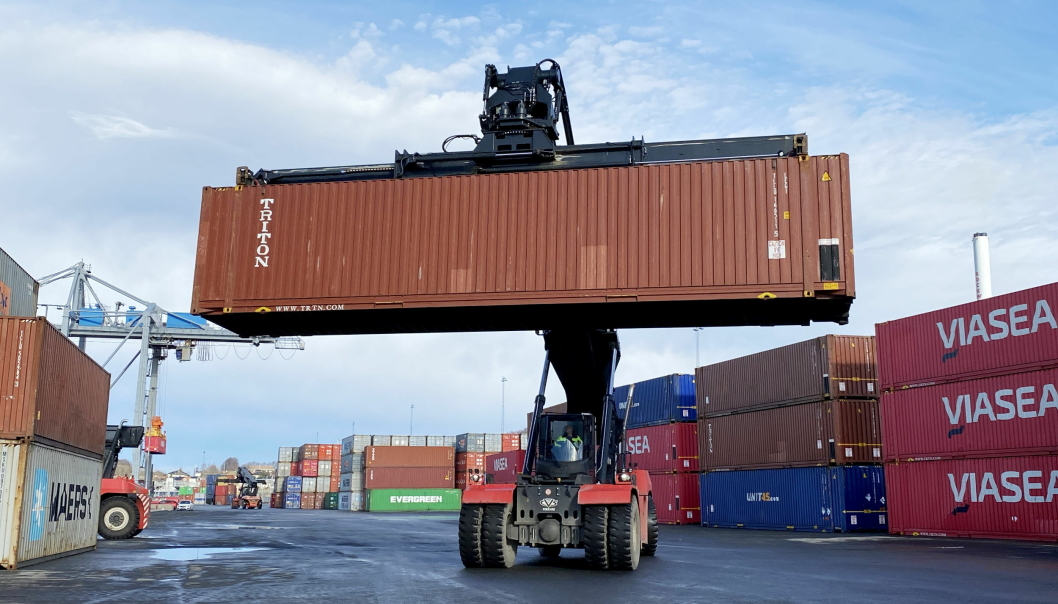 Moss Havn har hatt et stabilt containervolum, og har vokst med 40 TEUs fra første kvartal i fjor til i år.