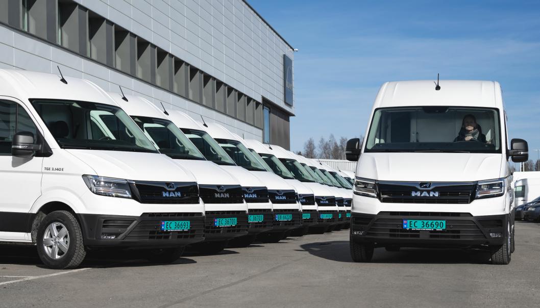 DB Schenker har hatt åtte elektriske MAN eTGE fra før, og har nylig fått levert ytterligere 17 biler.