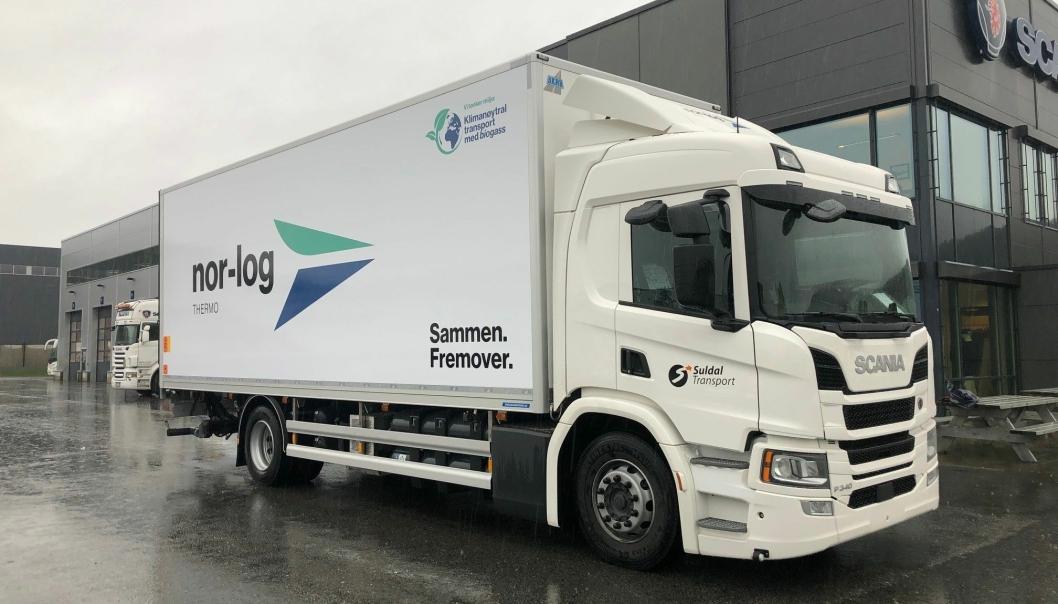 Nor-log Gruppen satser på biogass. Her en Scania P340 som skal gå i Stavanger-området.