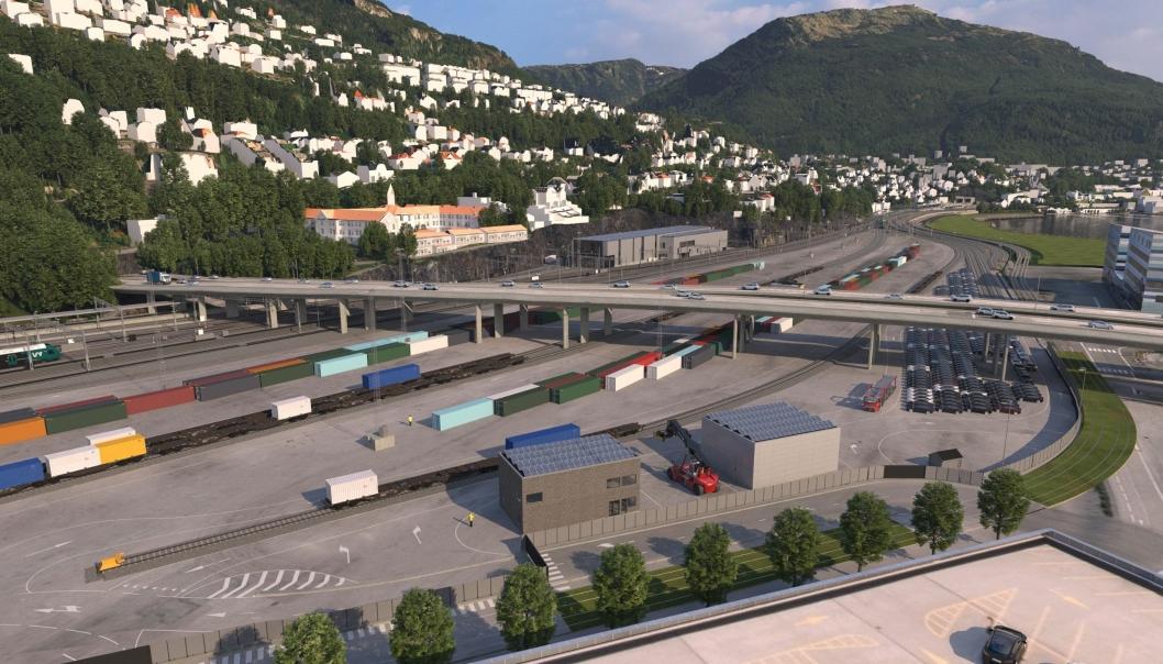 Den nye godsterminalen på Nygårdstangen skal etter planen stå ferdig i 2024.