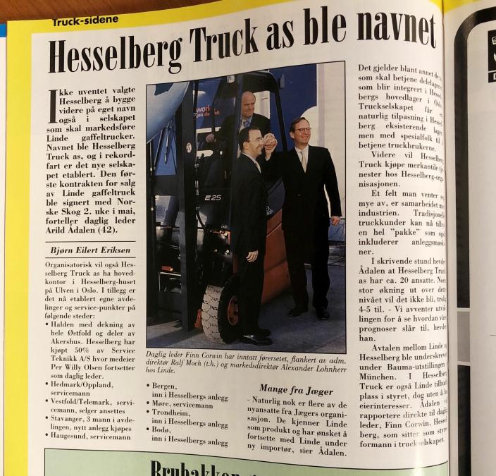20 ÅR SIDEN: Fra Moderne Transports mai-nummer i 2001, da det ble klart at Hesselberg Truck var etablert og skulle selge Linde i Norge.