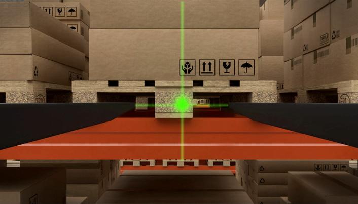 SIKKERHET: Laserposisjonering av gaflene skal gjøre det lett å arbeide presist også i høyden.
