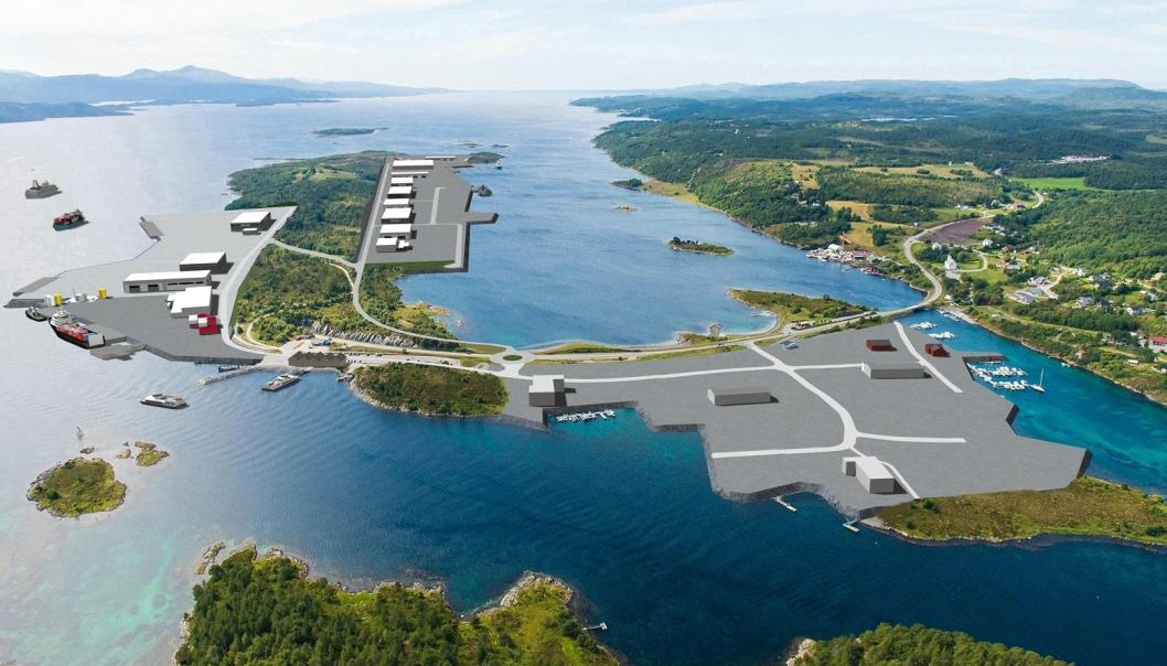 llustrasjon over Jøsnøya med Hitra Kysthavn til venstre, Hitra Industripark Vest bak i midten og Hitra Industripark Øst nede til høyre. Foto: Hitra kommune.
