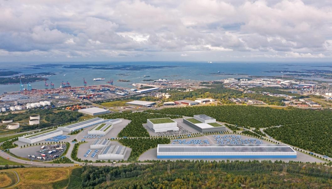 Visjonsbilde av hvordan logistikknutepunktet Halvorsäng i Göteborg havn kan ta form. Foto: Göteborg Hamn AB.