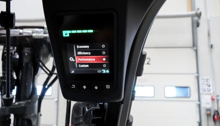 FLEKSIBEL: Ulike kjøreinnstillinger kan enkelt velges via skjermen.