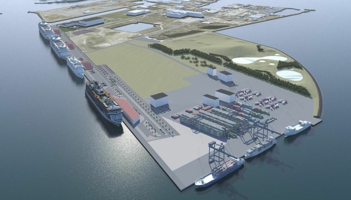 Slik ser planen for den nye containerterminalen ut på tegnebrettet.