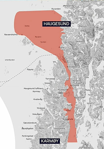 Testområdet strekker seg gjennom Karmsundet, forbi Haugesund og til det åpne havområdet Sletta.