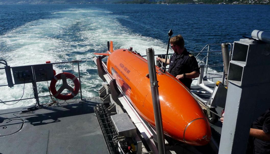 HITECH: Et av produktene som sendes fra Kongsberg Maritime i Horten er miniubåten Hugin.