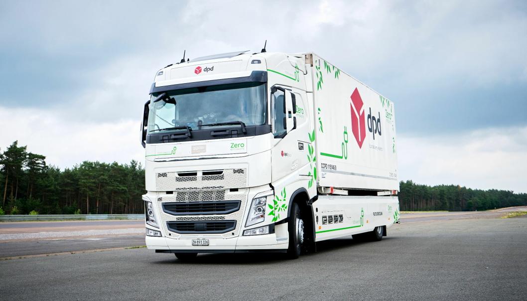 Denne lastebilen, en Futuricum, bygget med utgangspunkt i en Volvo, kjørte 392 runder på en testbane. Det endte med rekkevidde-verdensrekord for elektrisk lastebil. Foto: Continental2021